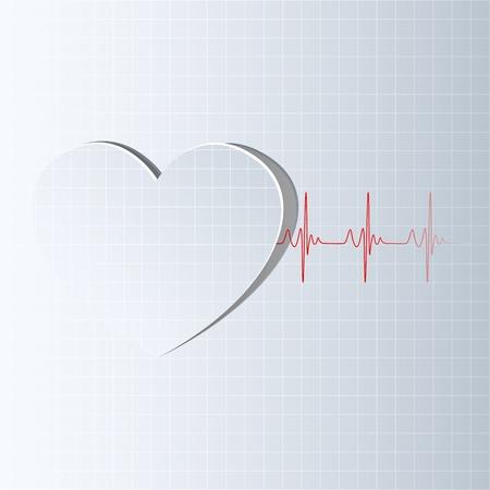 electrocardiograma: ilustración de la línea de la vida que sale de corte del corazón