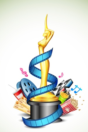 stereoscopic: illustration of cinema award with film stripe and other movie object Illustration