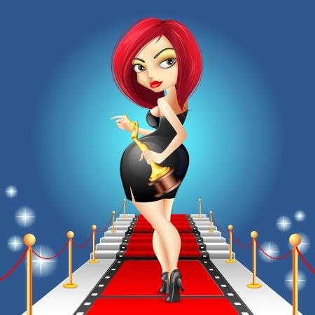 celebrities: illustratie van dame lopen op rode loper met gouden award