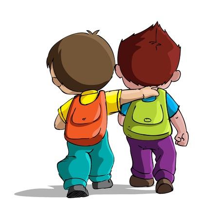バックパック: 袋のパックが付いている学校に通う子供のイラスト