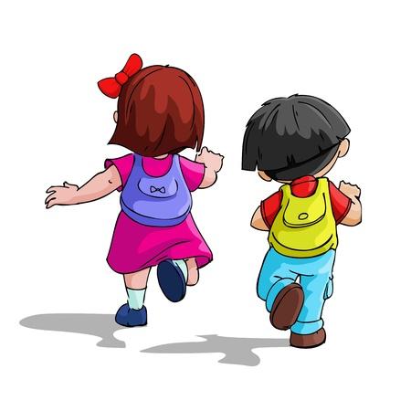 leaving: illustratie van de kinderen naar school te gaan met de rugzak