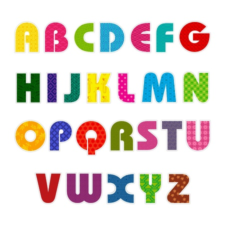 b n: illustration of set of abc alphabet with colorful pattern