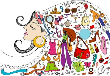 illustration de la beauté féminine et de la mode Realted doodle