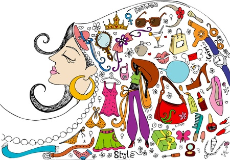 grooming product: illustration of female realted beauty and fashion doodle