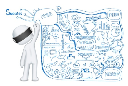 scalable: illustration of 3d man in vector fully scalable making business doddle