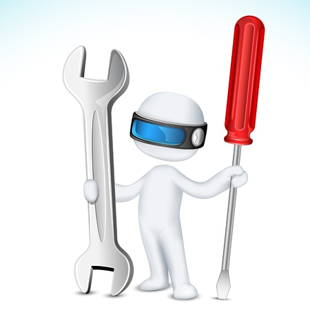 illustration of 3d man in vector fully scalable holding screw driver and wrench