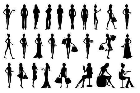 mujer feliz fondo blanco: ilustraci�n de un conjunto de silueta de mujer en el fondo aislado