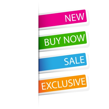 illustration of set of different selling sticker in different color Vector