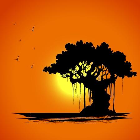 hoog gras: illustratie van de boom silhouet in zonsondergang uitzicht