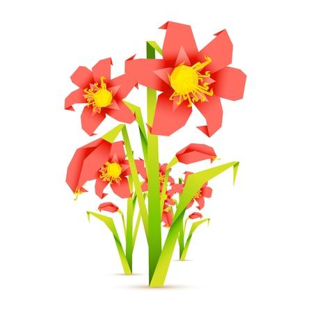 mazzo di fiori: illustrazione di fiori freschi in stile origiami su sfondo astratto