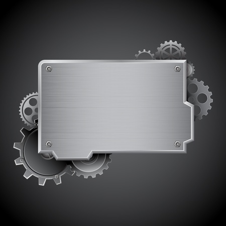 in the reconstruction: illustration of under construction board on abstract background with gears Illustration