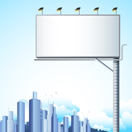 illustration of blank bill board in cityscape with tall building Ilustrace
