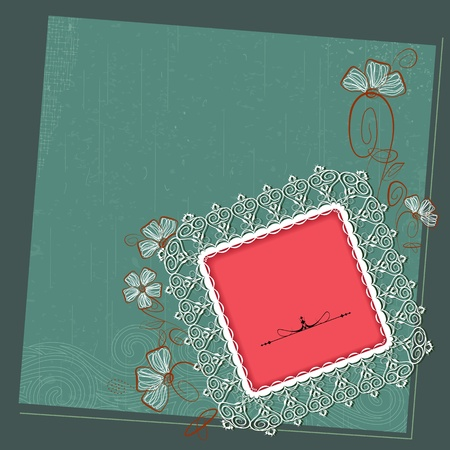 illustration of lace photo frame on floral grungy background Stock Vector - 13028912