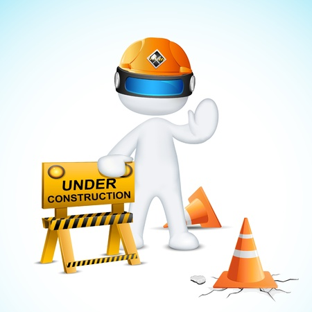 illustration of 3d man in vector fully scalable with under construction element Stock Vector - 13028901