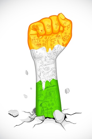 illustration of indian flag color fist with doodle Vector