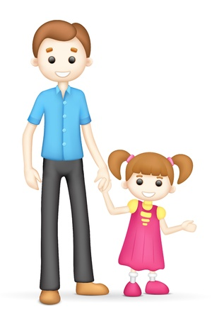 scalable: illustration of 3d father and daughter in vector fully scalable