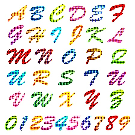 s m: illustration of set of abc alphabet and number with colorful pattern Illustration