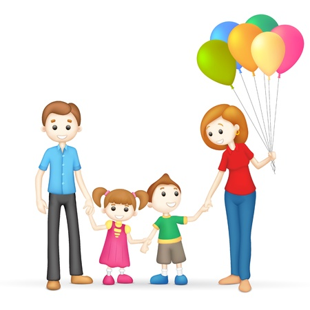 mom and dad: illustration of 3d happy family in vector fully scalable Stock Photo
