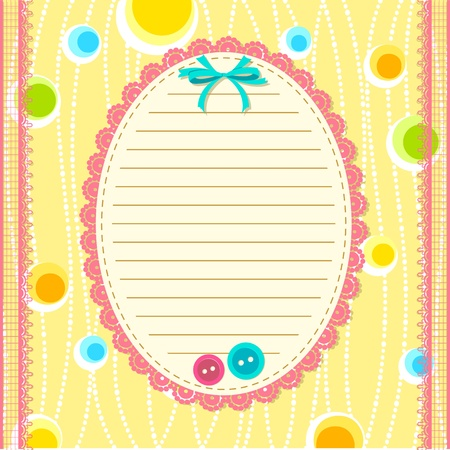 illustration of scrapbook layout with lace frame and button Vector