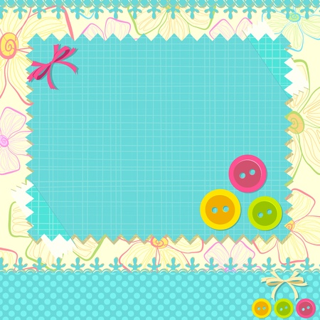 illustration of scrapbook background with lace and button Vector
