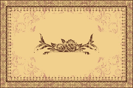 illustration of lace photo frame on floral grungy background Stock Vector - 13028915