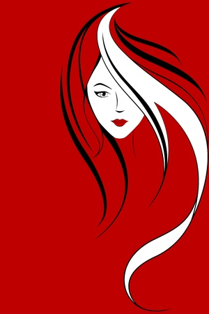 seductive woman: illustration of portrait of lady on red background Illustration