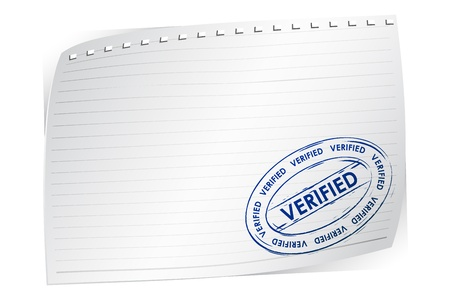 verified: illustration of verified stamp on blank paper Illustration