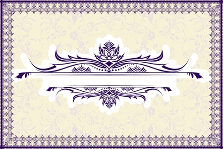 illustration of floral retro background with lace frame Vector