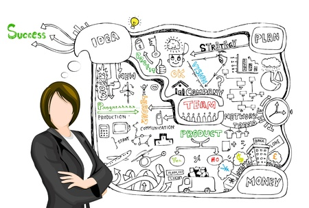 financial consultant: illustration of business lady presenting  doddle showing business plan