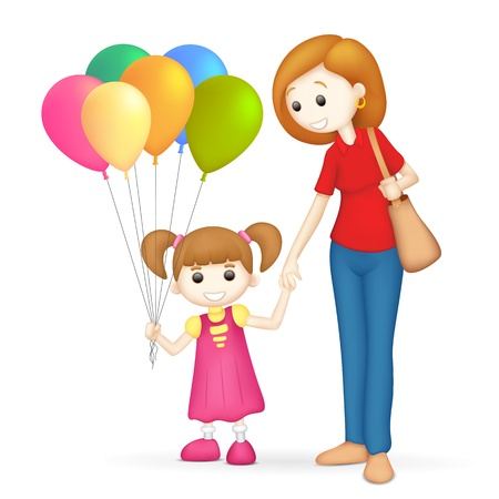 sibling: illustration of 3d mother and daughter in vector fully scalable