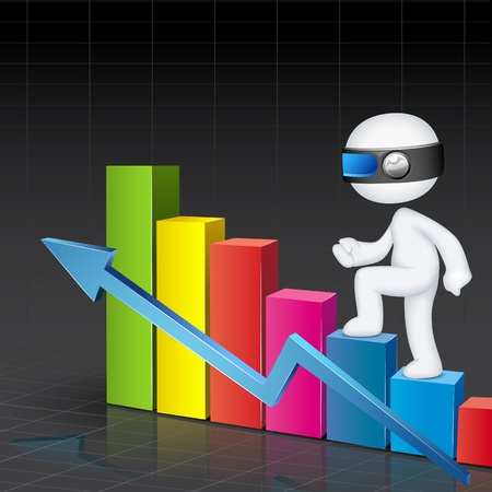 gain: illustration of 3d business man in fully scalable climbing bar graph Illustration