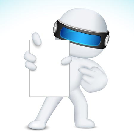 man pointing: illustration of 3d business man in fully scalable  showing blank display card