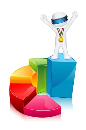 staaf diagram: illustratie van 3d business man in volledig schaalbaar staan op staafdiagram