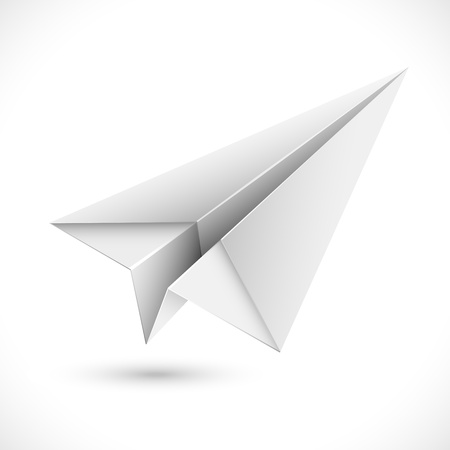 toy plane: illustration of origami paper airplane on white background Illustration
