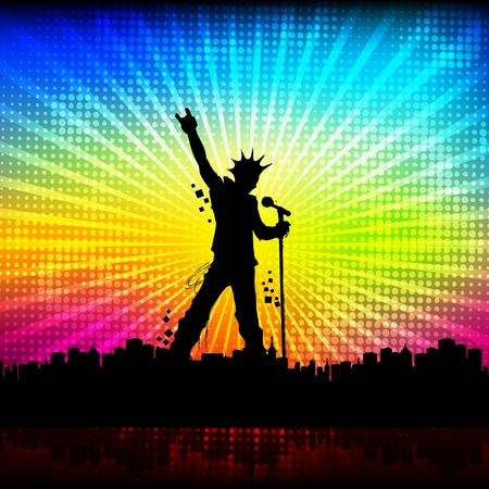 stage performer: illustration of singer performing with mike on colorful cityscape background