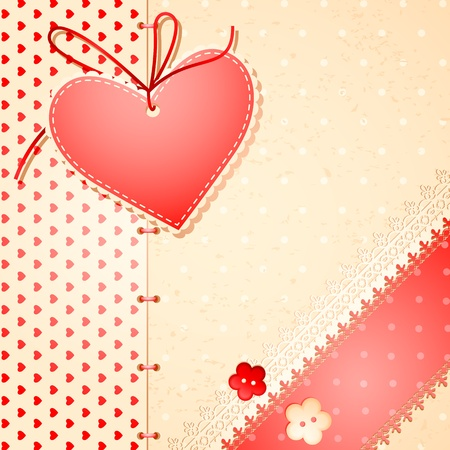 stitched: illustration of love card with lace pattern and stitched heart Illustration