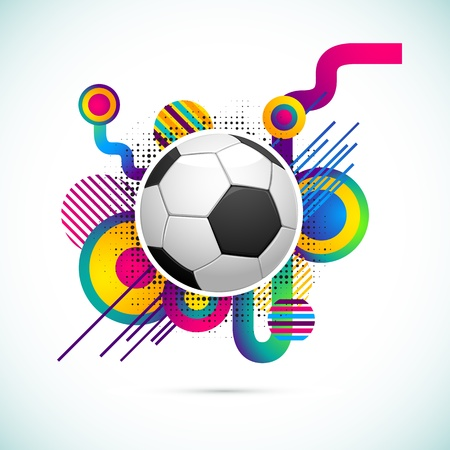 illustration of soccer ball on abstract colorful background illustration