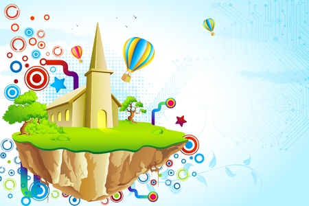 illustration of fantasy land with house surrounded by colorful swirl Stock Photo