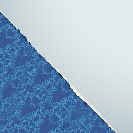 illustration of floral vintage background with torn paper Stock Vector - 13071584