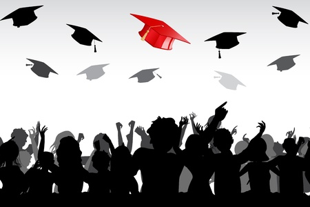 illustration of graduates tossing mortar board in air illustration