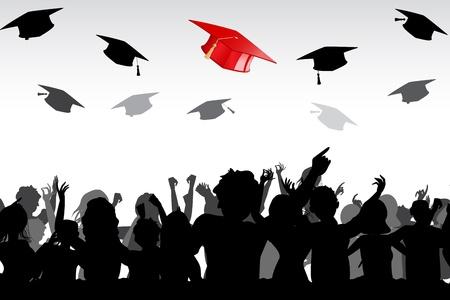 fondo de graduacion: ilustración de los graduados tirando birrete en el aire