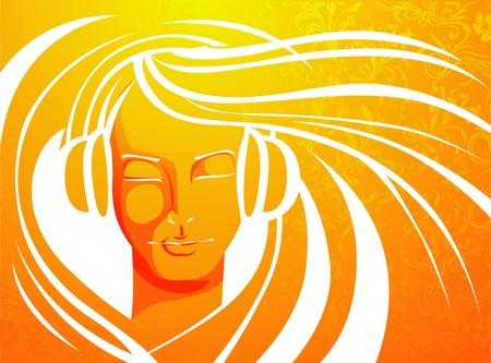 headphones woman: illustration of lady enjoying music in line art styl Illustration