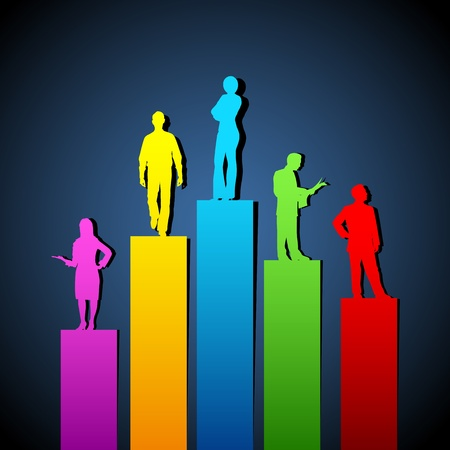 tall man: illustration of people standing on growing bar graph Illustration