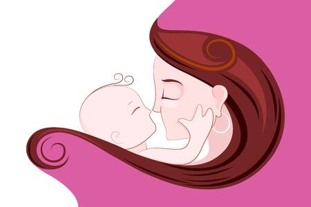 mujer feliz fondo blanco: ilustraci�n de la madre abrazando ni�o en D�a de la Madre Tarjeta s