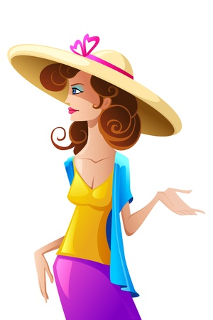 illustration of stylish lady wearing hat on isolated background Stock Vector - 13142813