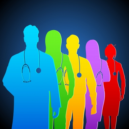 equipe medica: illustrazione della squadra di medico con stetoscopio colorato