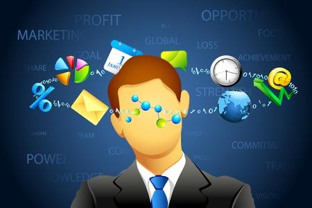confused businessman: illustration of confused businessman thinking of business Illustration