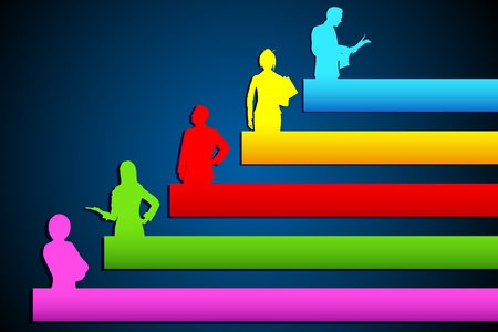 bargraph: illustration of people standing on growing bar graph Stock Photo