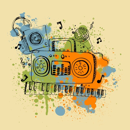 electronic music: illustration of musical instrument on abstract grungy background Illustration