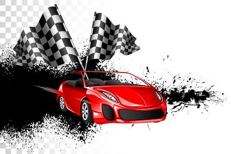 illustratie van race-auto met checker vlag op grungy achtergrond Stock Illustratie